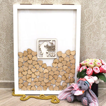 BABY SHOWER GUEST Book White Alternative  Guest Book, Drop Box 3D Frame, Drop in Top Wooden Hearts, Memory Box, Shadow Frame