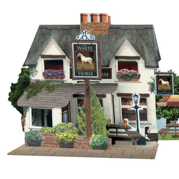 Santoro Pop Up Places 3D Greeting Card - White Horse Pub