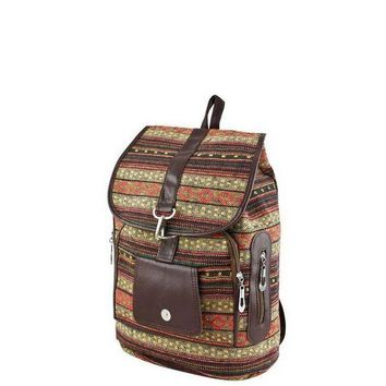 VONE059 Red Tribal Print Backpack
