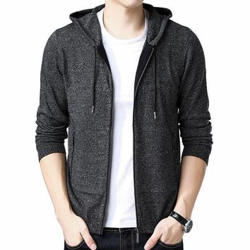 Casual Hooded Zipper Cashmere Wool Cardigan