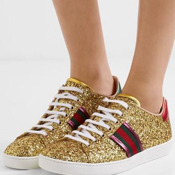 Gucci Ace Metallic-trimmed Glittered Leather Sneakers #1059