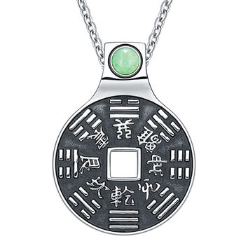 Yin Yang Lucky Coin Amulet BaGua Magic Kanji Forces of Nature Green Quartz 18 Inch Pendant Necklace