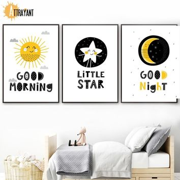Sun Star Moon Wall Art Canvas Painting Nordic Posters And Prints Wall Pictures For Kids Bedroom Baby Boy Girl Room Home Decor