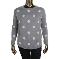 AGB Womens Polka Dot Button-Up Back Pullover Sweater