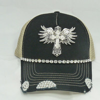 Large cross with wings bling hat