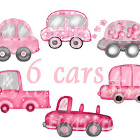 Car clip art 6 pink car download -whimsical art - PNG clipart -hot pink white art print -digital craft -nursery clipart - ditital images