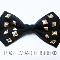 Handmade Vintage Black Denim Studded Hair Bow