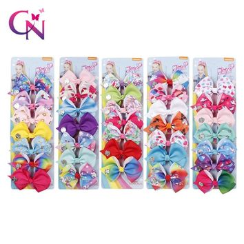 7 Pieces/Set Boutique Unicorn Hair Bows JoJo Clips For Girls Kids Rainbow Printed Knot Ribbon Bow Hairpin Hair Accessories