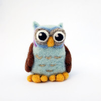 Needle Felted Cute Fuzzy Light Blue Baby Owl, Soft plush toy and home decoration