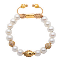 Women's Beaded Bracelet with White Pearls and Gold Buddha