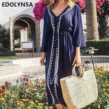 Boho Embroidery V Neck Blue Maxi Dress Three Quarter Sleeve Indie Folk Fit And Flare Ankle Length Dress Casual Sundress N529