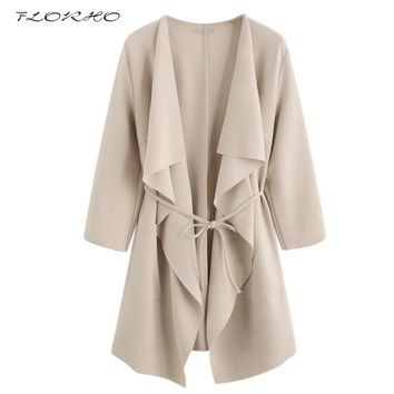 2018 Autumn Spring Women Fashion Coat  Plus Size 5XL Cardigan Belted Elegant Office Ladies Overcoat Jacket Casual Party Outwear