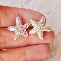 SALE Sparkling Starfish Stud Earrings,Crystal AB Rhinestone Starfish,Ocean,Beach Wedding,Bridal,Nautre,Rhinestone Stud Earrings,Northern Lig