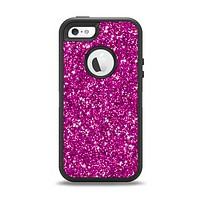 The Bright Pink Glitter Apple iPhone 5-5s Otterbox Defender Case Skin Set