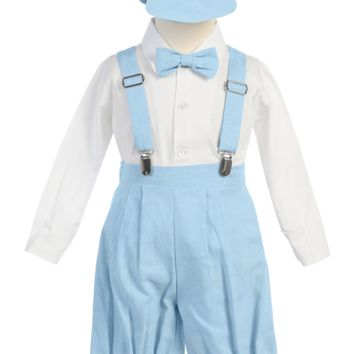 Blue Linen Blend Knickers 5 Piece Outfit with Suspenders & Matching Cap (Baby or Toddler Boys)