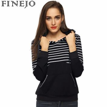 FINEJO Fashion Women Stripe Hoodies Sweatshirts Knitted Striped Patchwork Long Sleeve Solid Casual Women Pullovers Tops S-XXL