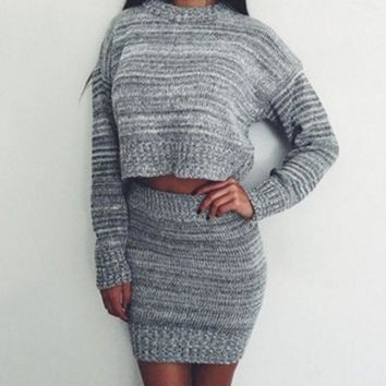ICIKVQ8 Simple Fashion Knit Long Sleeve Crop Tops Sweater Pack Hip Bodycon Short Skirt Set Two-Piece