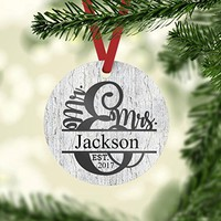 Christmas Ornament - Personalized Wedding Present - Mr. and Mrs. Christmas Ornament
