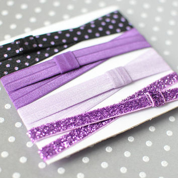 Purple Sparkle elastic headband set, Glitter sports headbands, Fashion headband, Womens headbands, Girls Purple headband, Newborn headband
