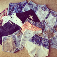 High Waist Shorts: Studded, bleached, dyed, distressed, laced, cheetah, stars (CUSTOM)