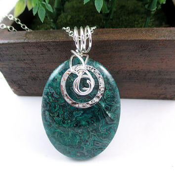 Crazy Lace Agate Necklace, Handmade, Wire Wrapped Green Stone Pendant, Sterling Silver, Round Stone Jewelry, Shabby Chic Gift for Women