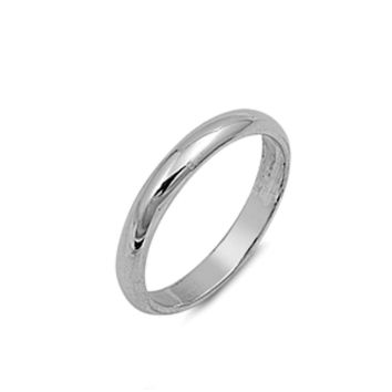 .925 Sterling Silver 3mm Plain Band Ring Size 2-13