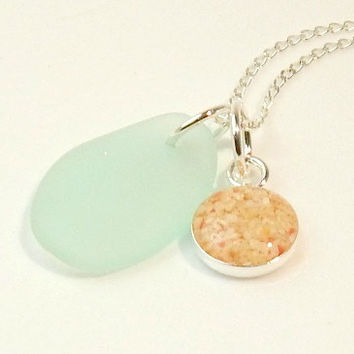 Ocean Necklace Handmade GENUINE Sea Glass Jewelry Bermuda Sand Pendant