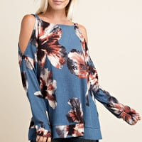 Long Sleeve Open Shoulder Floral Top - Denim Blue