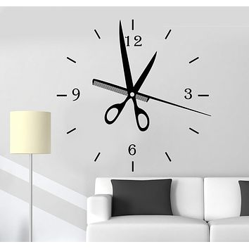 Vinyl Wall Decal Hair Salon Clock Art Decoration Barbershop Stylist Stickers Unique Gift (ig4767)