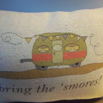 2nd anniversary gift, cotton pillow gift, Camper pillow, RV decoration, mom dad birthday gift, RV home decor, woodland camping cushion