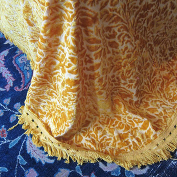 Vintage golden yellow floral cut Chenille Bedspread coverlet / crushed velvet blanket quilt with fringe