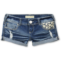Almost Famous Karlyn Crochet Pocket Blue Denim Shorts
