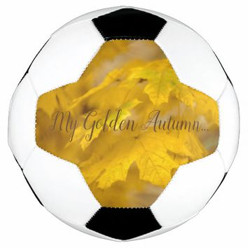 Yellow autumn maple leaves. Add text. Soccer Ball