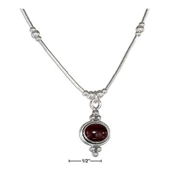 "Sterling Silver Necklaces: 16"" Beaded Liquid Silver Framed Oval Garnet Necklace"