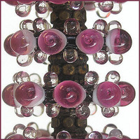 Handmade Lampwork Magenta Glass Beads, Lampwork Glass Beads Bubble Disc Set (6)