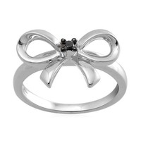 Sterling Silver Diamond Accent Bow Ring (.03 Ct, I-J Color, I3 Clarity)