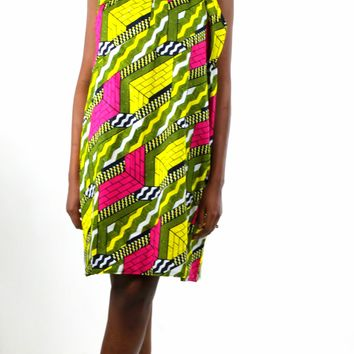 African Print Halter Neck Dress - Pink/Yellow Geometric Print