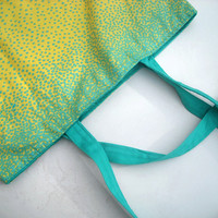 Tote, Large, teal green, yellow, poka dot