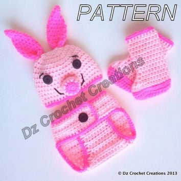 CROCHET PATTERN Piglet baby outfit for pictures INSTANT Download / pink pig baby outfit crochet pattern for photos / baby outfit for photos