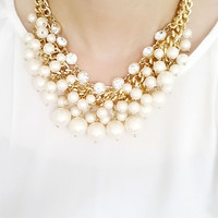 Luxury Pearl and Crystal Weddubg Statement Necklace