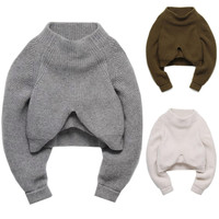 Acrylic Fibers Knitted Cropped Pullover Sweater