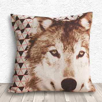 Pillow Cover, Pillow Case, Cushion Cover, Wolf Pillow Cover 18x18 - Wolf Geometric - 160