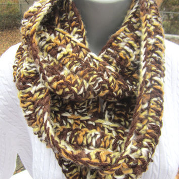 Brown and Yellow Crochet Infinity Scarf, Neutral Winter Wear, Bulky Soft Multicolor Neckwarmer, Gifts Under 30 by Charlene READY TO SHIP