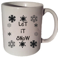 LET IT SNOW 11 oz coffee tea mug Christmas music song quote 005