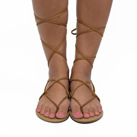 Tie Up The Ankle Sandals In Tan