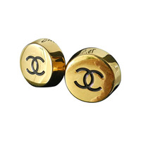 Vintage 1990's Chanel Large Gold CC Earrings