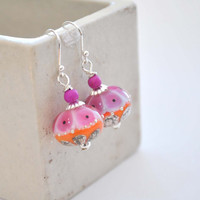 Pink Orange Earrings, Lampwork Glass Earrings, Dangle Earrings