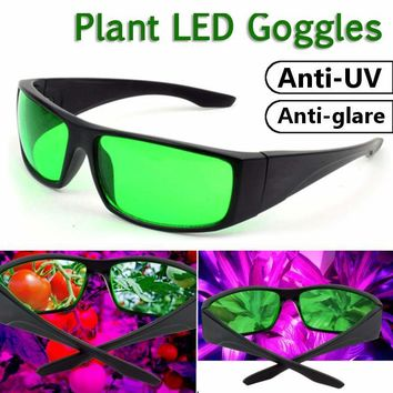New LED Grow Room Glasses  Anti-glare Anti-UV Green Lens Glasses for Tent Greenhouse Hydroponics Plant Light Eye Protect Glasses