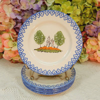 5 Beautiful French Luneville Fainence Plates ~ Country Scene ~ Blue Trim