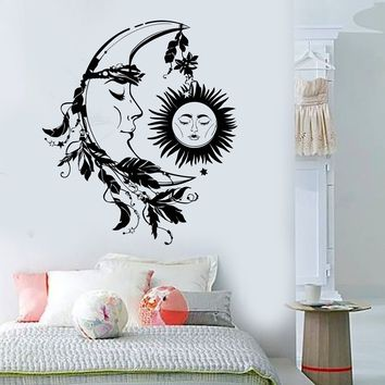 Vinyl Wall Decal Sun Moon Night Dream Bedroom Design Feather Stickers Unique Gift (807ig)